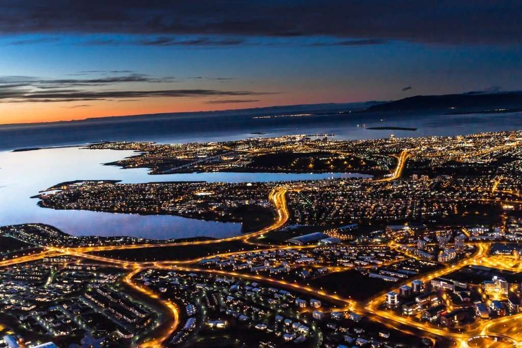 Reykjavík by night and from air