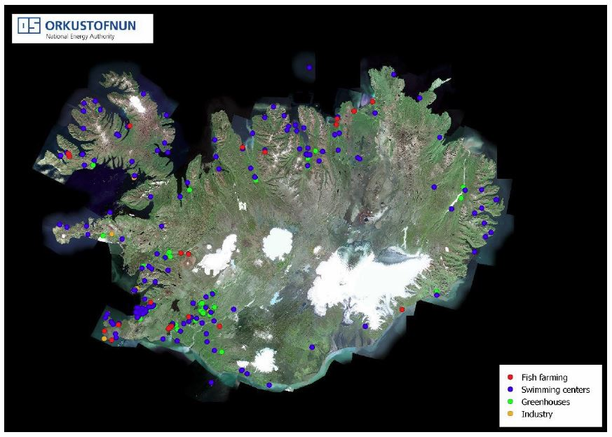 Figure 2: Satellite image of Iceland in summer time showing where geothermal is used for various uses like swimming, fish farming, industrial processes and heating greenhouses in year 2014.