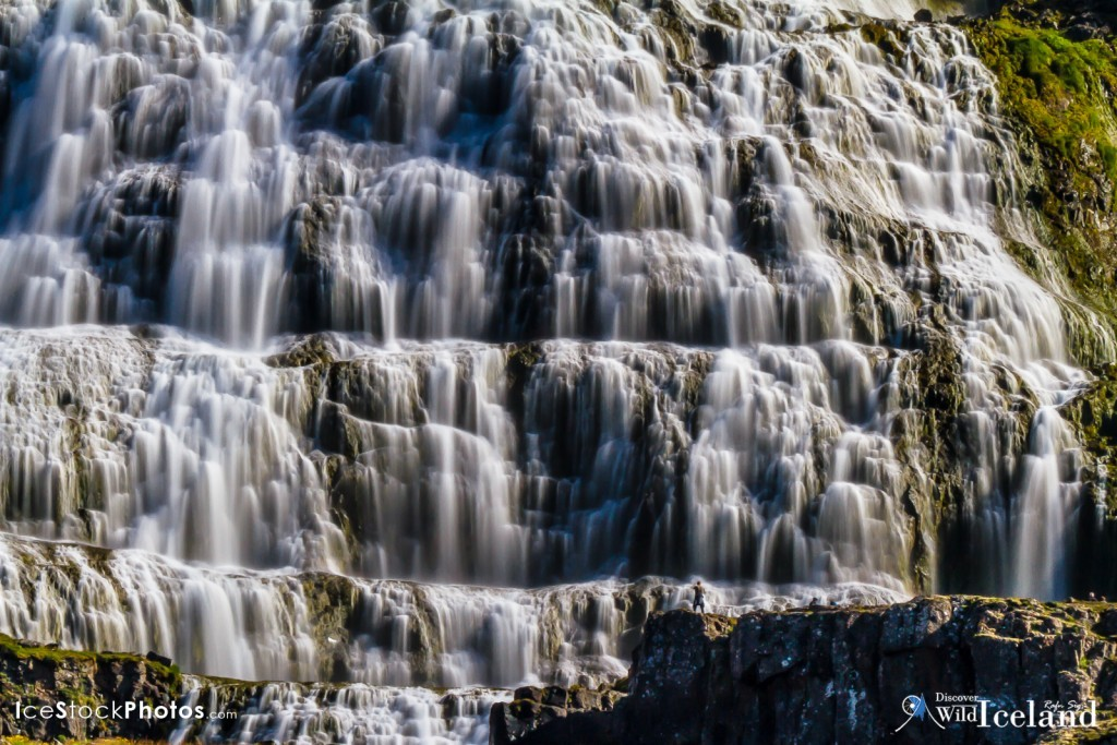 Dynjandi Waterfall, Westfjords, Iceland. Dynjandi (also known as Fjallfoss) is a series of waterfalls located in the Westfjords (Vestfirðir), Iceland. The waterfalls have a cumulative height of 100 metres (330 ft)