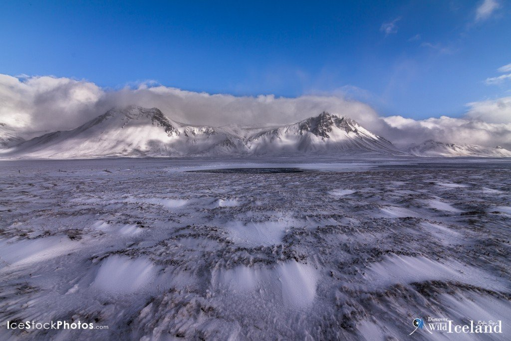 Pond in the middle of a frozen meadow - Snæfellsnes - Iceland