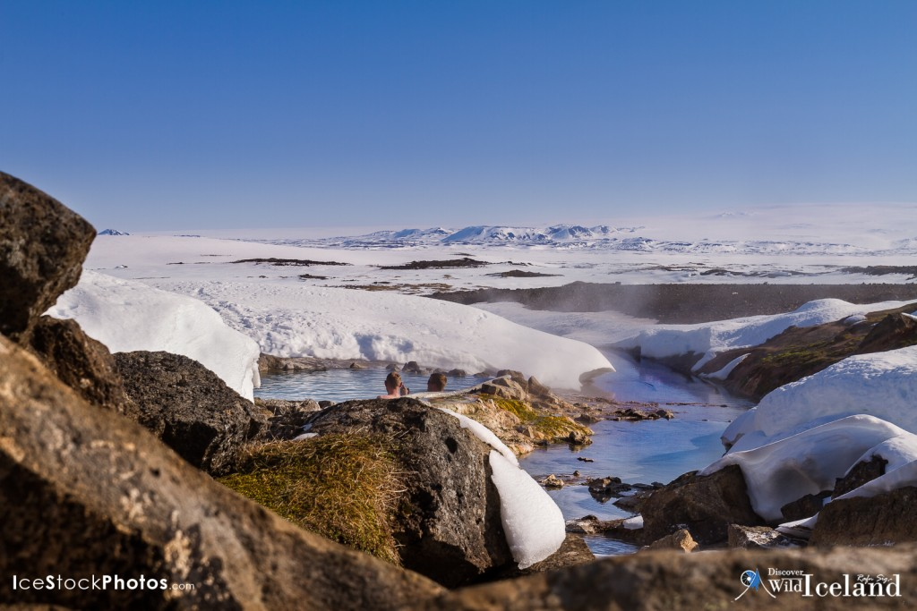 Enjoying the beautiful scenery in one of our natural hot tubs in the highlands - Hveravellir - Iceland