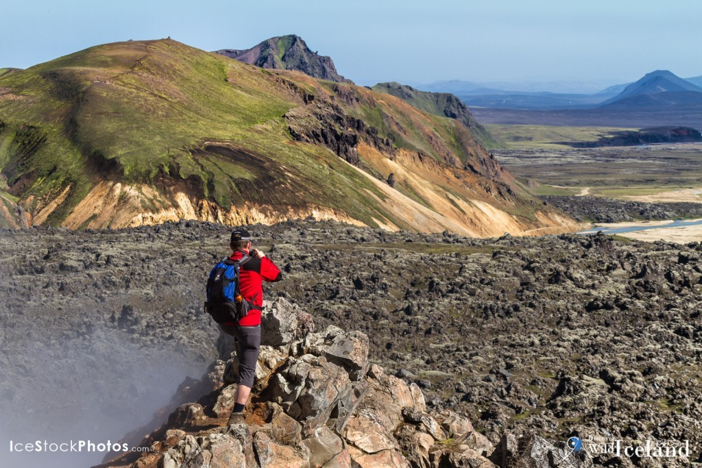 Back packers walking in the Highland's of Landmannalaugar towards Brennisteinsalda, Iceland