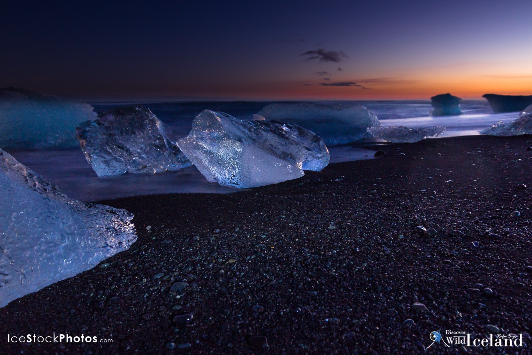 Twilight at Glacier Lagoon, Suðurland, Iceland