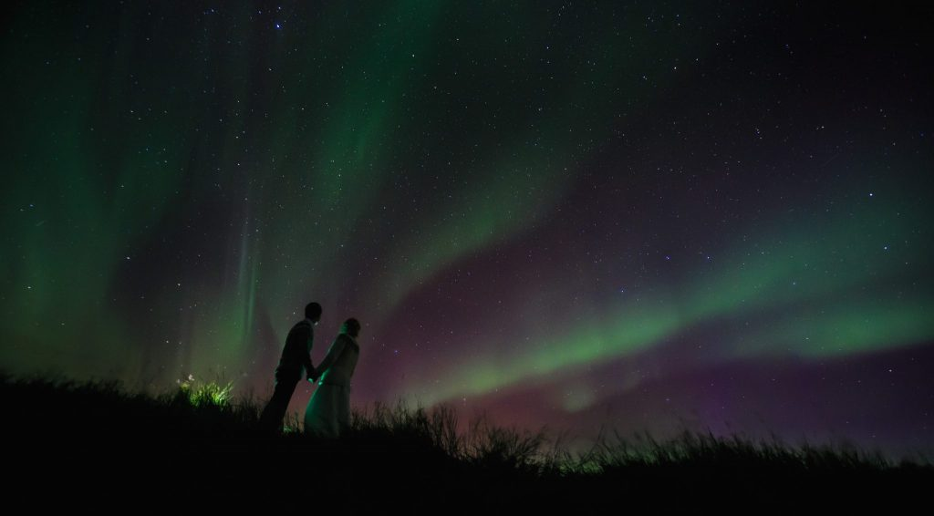 Iceland wedding (elopment for two people in love) and engagement photosession for several days around the island
