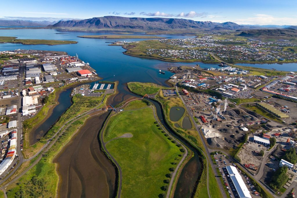 Reykjavík on a good summer day from air