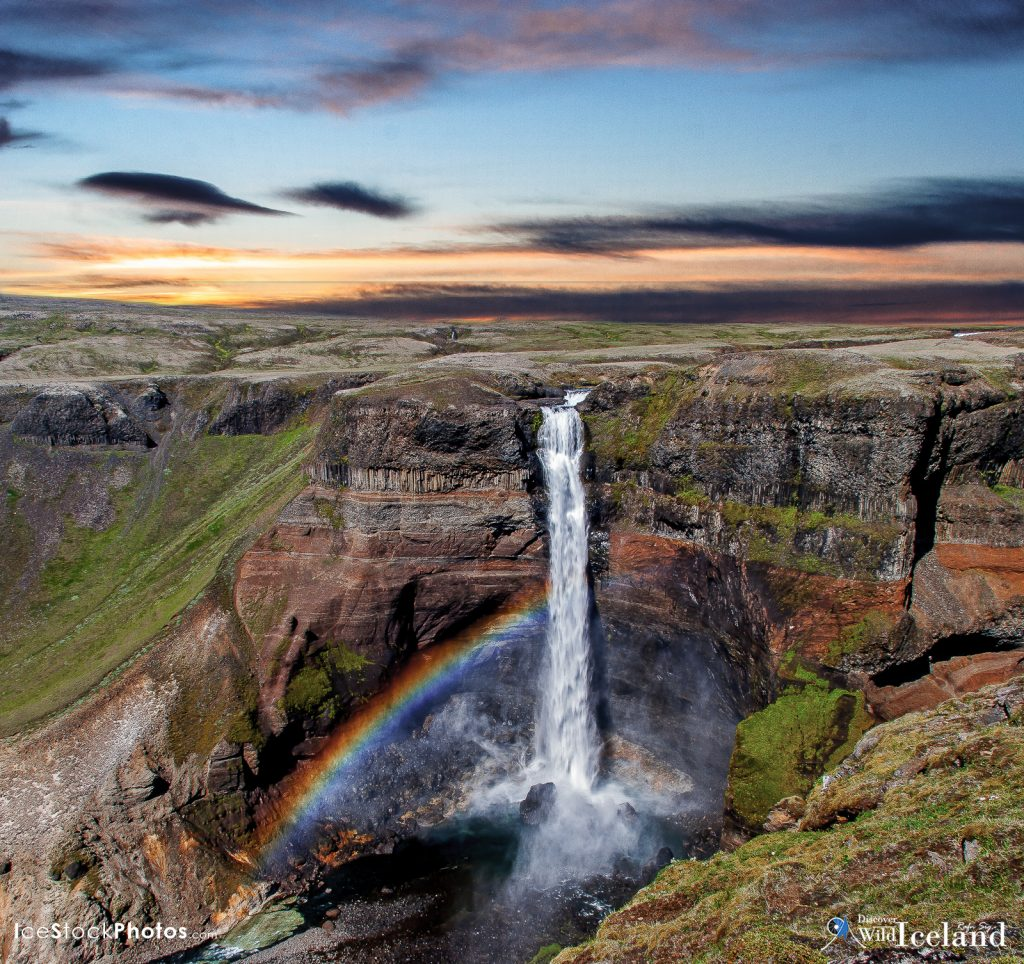 The waterfall Háifoss is situated near the volcano Hekla in the south of Iceland. The river Fossá, a tributary of Þjórsá, drops here from a height of 122 m. This is the second highest waterfall of the island.