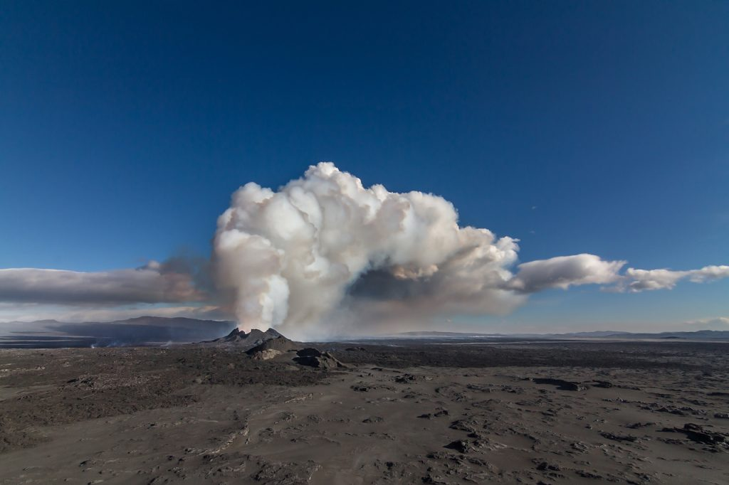 Volcanic eruption at Holuhraun Highlands. Iceland