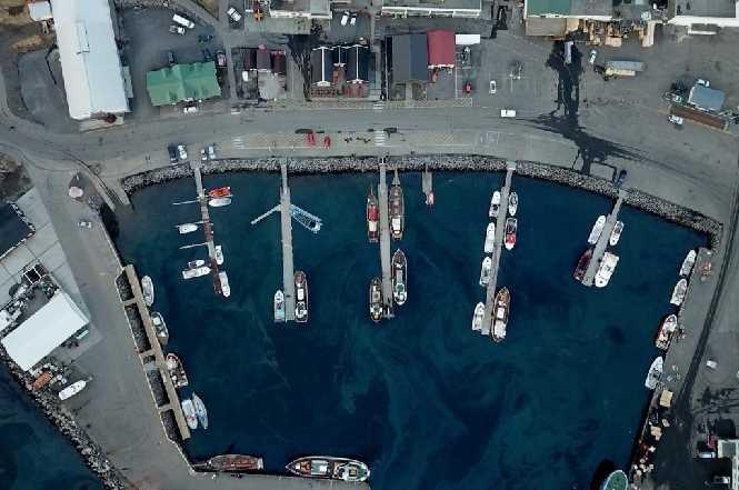 Húsavík harbor drone photo
