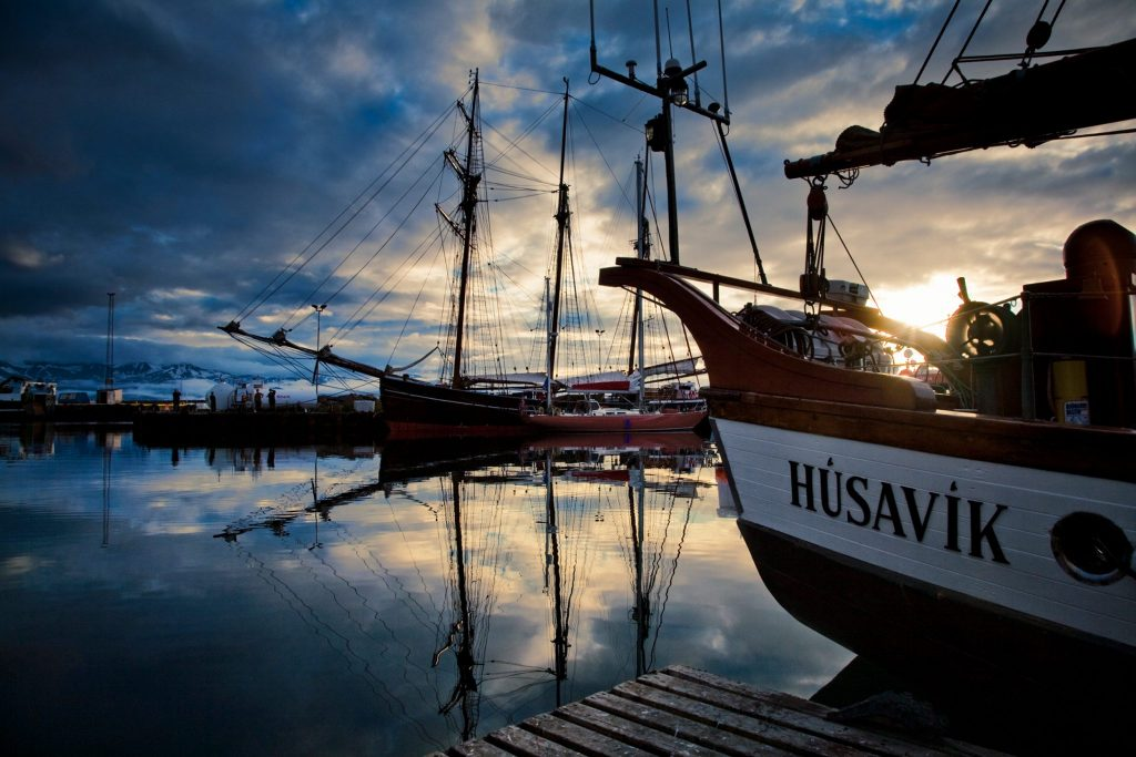 Húsavik harbour in sunset