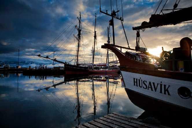 Húsavik harbour in sunset